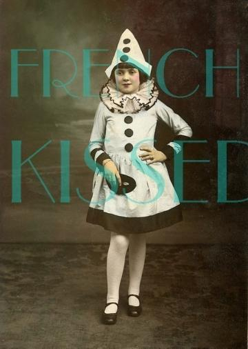 DIGITAL Scan PIERROT Clown Girl with Mask French postcard