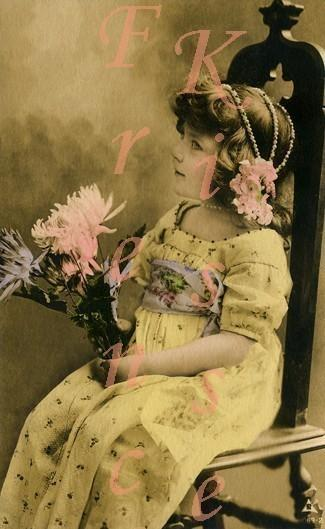 DIGITAL Scan Victorian Edwardian girl in YELLOW dress Antique French Postcard