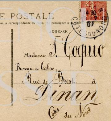 FRENCH CALLIGRAPHY Unique Postcard Back Curved Message Scrapbooking graphic DIGITAL SCAN