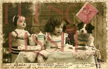 DIGITAL Scan Antique French postcard Collage Edwardian Girl, DOLL, Dog, Tea PARTY invitation