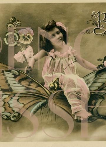 DIGITAL download Girl on Butterfly antique French postcard scan