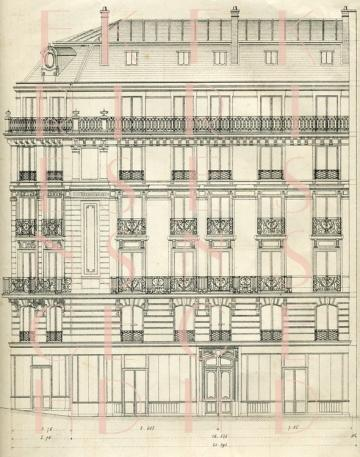 DIGITAL scan BLUEPRINT Paris architecture 1880 House Windows Art Nouveau iron grillwork