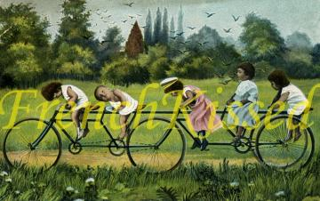 DIGITAL Scan Victorian TODDLERS on Bicycle montage Multiple Babies collage postcard