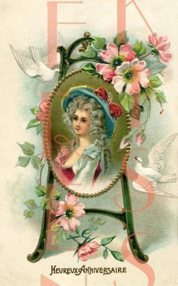 DIGITAL download Marie Antoinette 18th century woman Floral easel frame French postcard