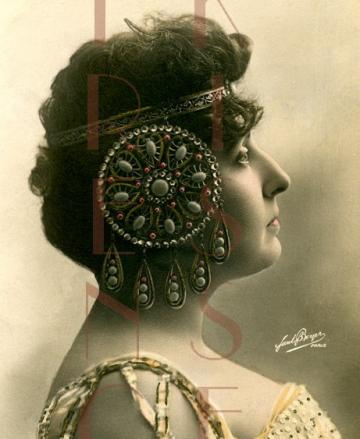 DIGITAL download EXOTIC Art Nouveau Jewelry Headdress  French GLAMOUR lady postcard scan