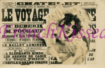 Digital Scan FRENCH postcard Collage Edwardian woman bursting out of VOYAGE sign