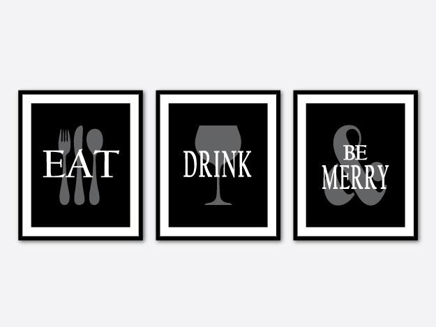 Wall Art Trio Eat Drink and be merry by snewberrydesigns