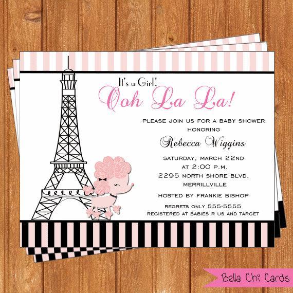 poodle in paris baby shower invitations bsi293diy