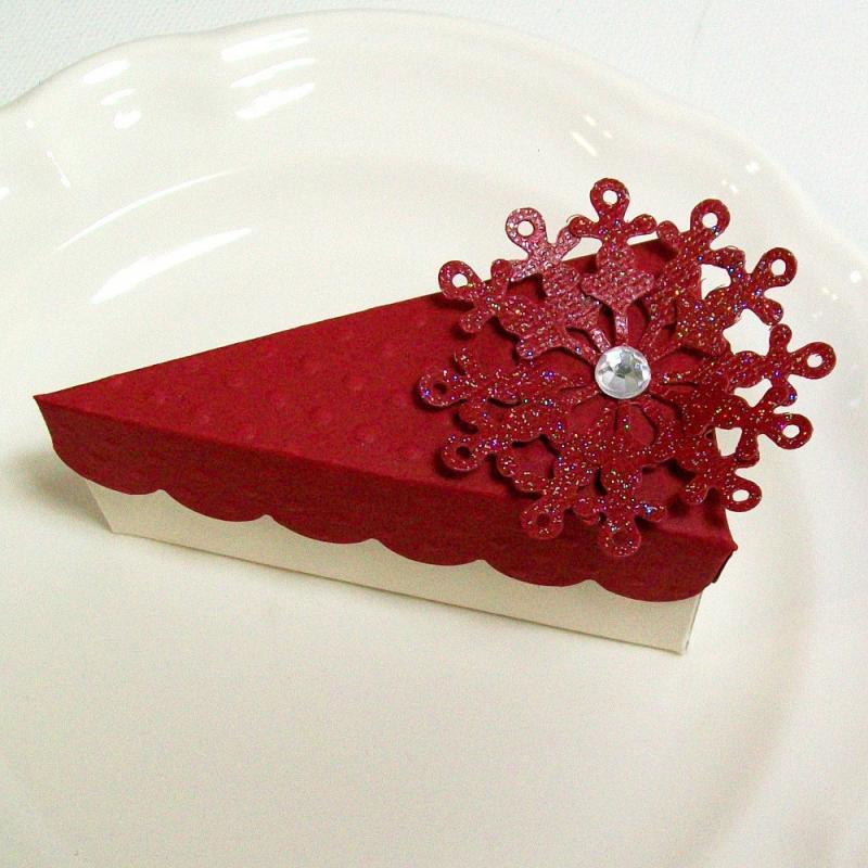 Red Cake Slice Favor Box Christmas Party Favor Wedding Favor