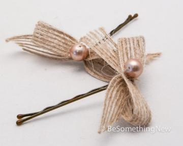 Little Burlap Bows – Bobby Pin Set by BE Something New