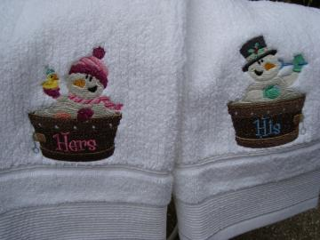 Winter-themed His and Hers Hand Towels