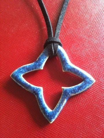 Stylised Star Cross Pendant in Blue