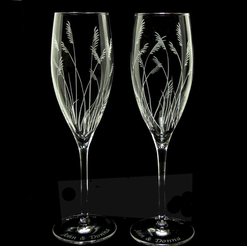 sea grass wedding flutes fine crystal champagne glasses