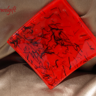 Abstract on Red Fused Glass Dish