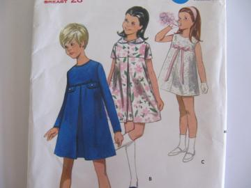 Vintage Girls One Piece Dress Pattern