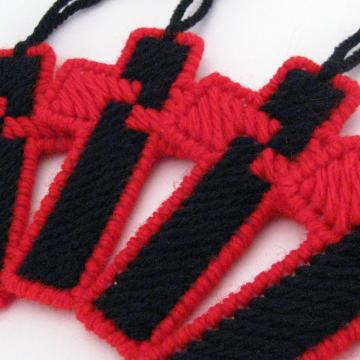 Red and Black Cross Ornament set of 5