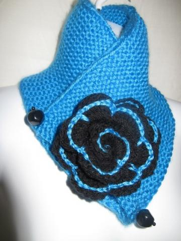 Turquoise Scarf with Black Flower or  choose the color