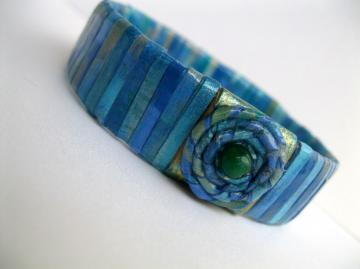 Paper Bead Bangle Ocean Blue