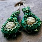 Cat's Eye, handmade earrings with kumihimo, beadwork