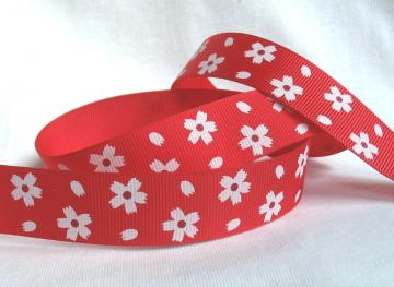 "7/8"" white daisies red grosgrain ribbon 6 yards"