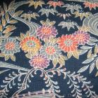 Japanese Wool Fabric - Blue & Floral (1m)