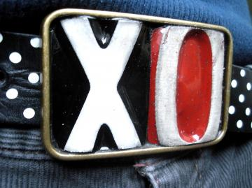 Hugs and Kisses Belt Buckle - Recycled License Plates