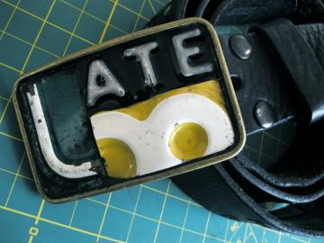 Late Belt Buckle - Recycled License Plates