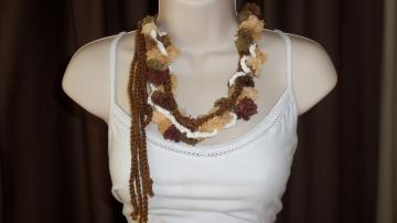 Necklace (Multi Toned  Lariet, Cowl, Neckpiece, in Brown and Gold Pom-Poms Edged in White Trim)