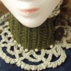 Cowl/Victorian Choker/Necklace/Neckpiece in Two Toned Green/Pearls and Wood Buttons