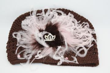 Pink and brown Crochet Hat
