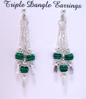 Earrings, Triple Drop Dangle Earrings, Malachite Gemstone Beads on Silver Handcrafted Beaded Dangle Sparkle
