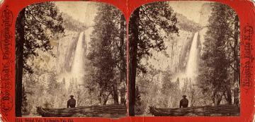 Bridal Veil,Yosemite Val Cal. Antique stereo view card