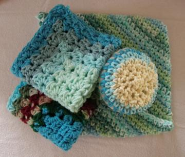 Dish Rags, Soft Scrubbie, Pot Holder Combo (Blue)