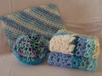 Dish Rags, Soft Scrubbie, Pot Holder Combo (Lavendar/Blue)