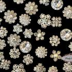 20pc set CLEAR Assorted Dainty Flatback Rhinestone Embellishment Button Brooches DIY wedding bridal favors bling invitations