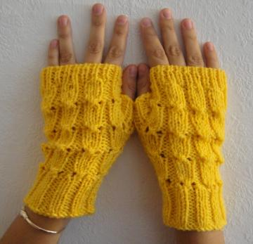 SALE Hand knitted Fingerless Gloves in Lemon Yellow Fall Winter READY FOR SHIP