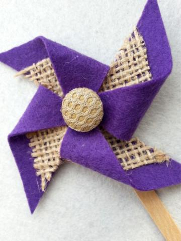 Purple Felt Pinwheel with Burlap by Cute Little Things