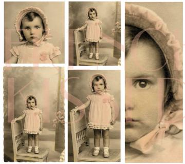 Digi Sheet PRECIOUS in PINK ToddLer Portrait Antique French postcard  9X8 Multiple Images