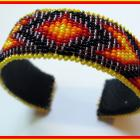 Fire Colors Beaded Loom Work Native Style Cuff Bracelet