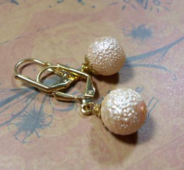 Golden Sparkle Bumpy Glass Bead Earrings