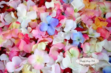 120 Assorted Color Fabric Hydrangea Flower Petals
