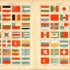 1916 Historic Flags Lithograph, Pavillons Francais