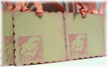 Pretty in Pink Whimsical Song Bird TAGS