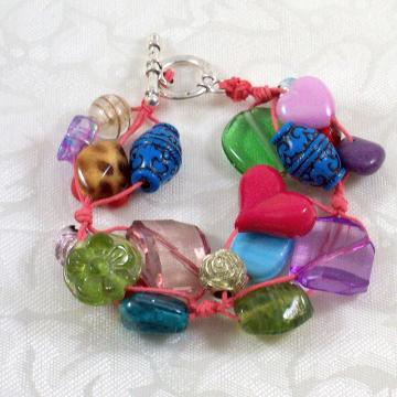 Bracelet, Multicolored Beads knotted on hemp cord