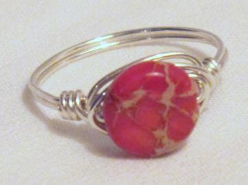 Pretty Pink Jasper Wire Wrapped Ring