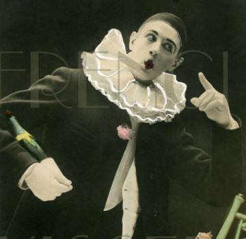 PIERROT French Mime 5 Senses Series SIGHT Antique French Postcard DIGITAL SCAN