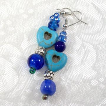 Beaded Dangle Earrings in blue with heart beads