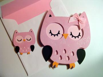 Pink Sparkly Owl Card , Animal Shaped Cards