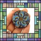 Hand Painted Rosemaling fancy blue waves pendant