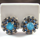 Vintage Blue Moonglow and Rhinestone Earrings